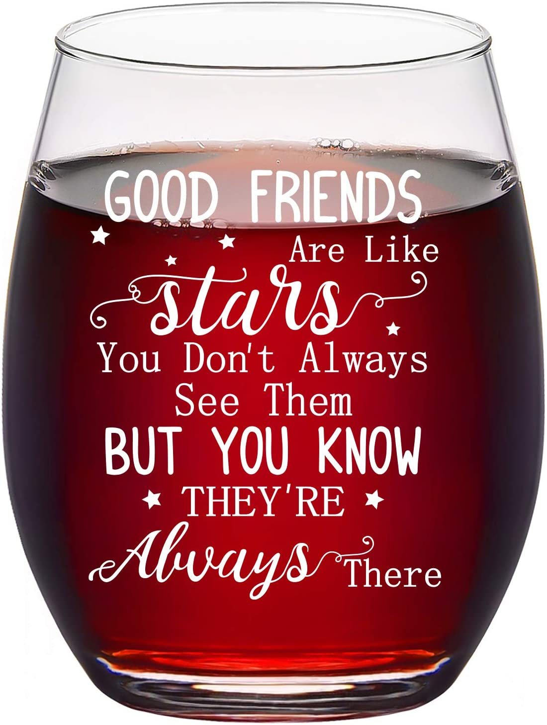 Good Friends Are Like Stars Wine Glass, Friendship Stemless Wine Glass 15Oz for Women, Her, Girls, Best Friends, Sisters, Soul Sister - Great Ideas for Birthday, Christmas, Galentines Day
