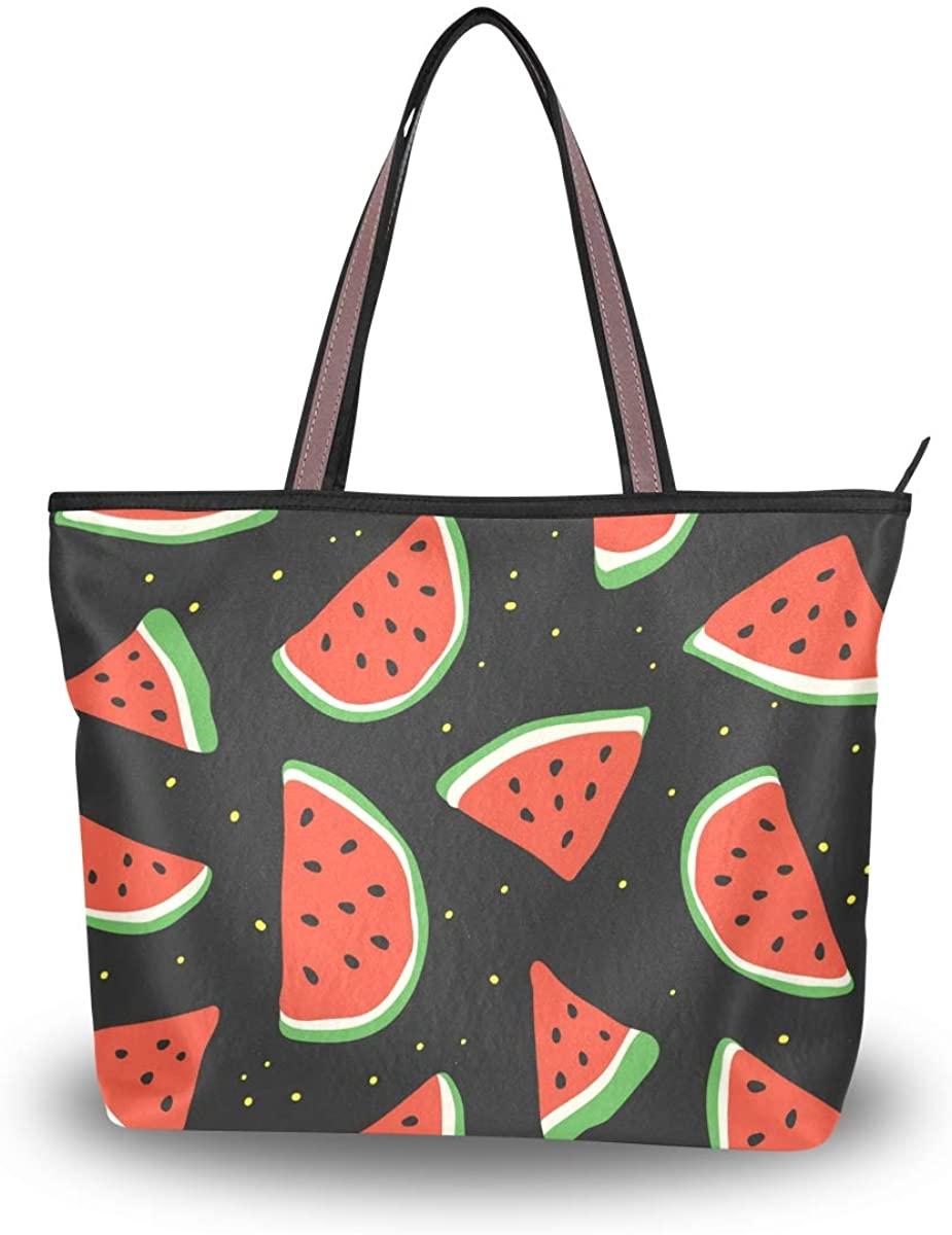 Woman Tote Bag Watermelon Pieces Shoulder Handbag for Work Travel Business Beach Shopping School