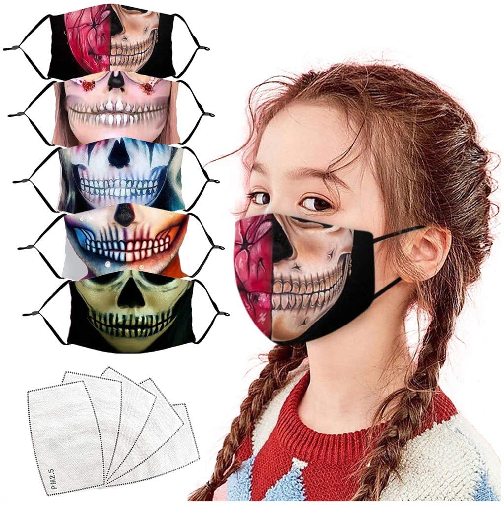 Gerichy 5PC + 5 Filters Halloween Kids Face_Masks Reusable for Outdoor Funny Pattern Washable Reusable Face Bandanas