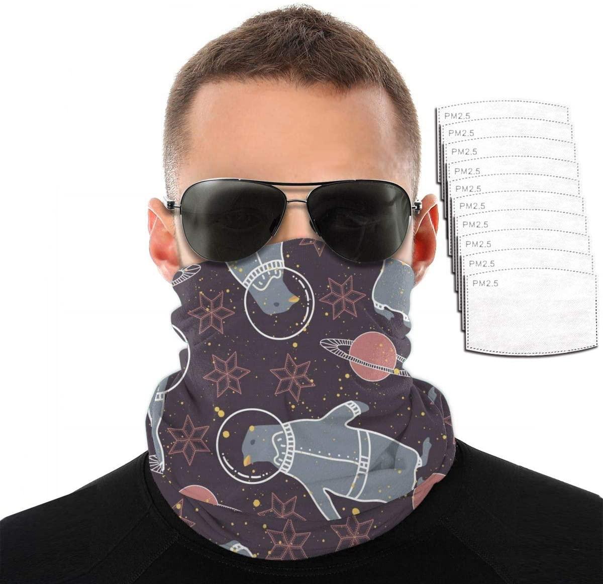 Headwear Unisex Hexagonal Star Penguin Variety Face Towel Headbands Insert Carbon Filter Bandana Neck Gaiter Face Protector For Dust Outdoors