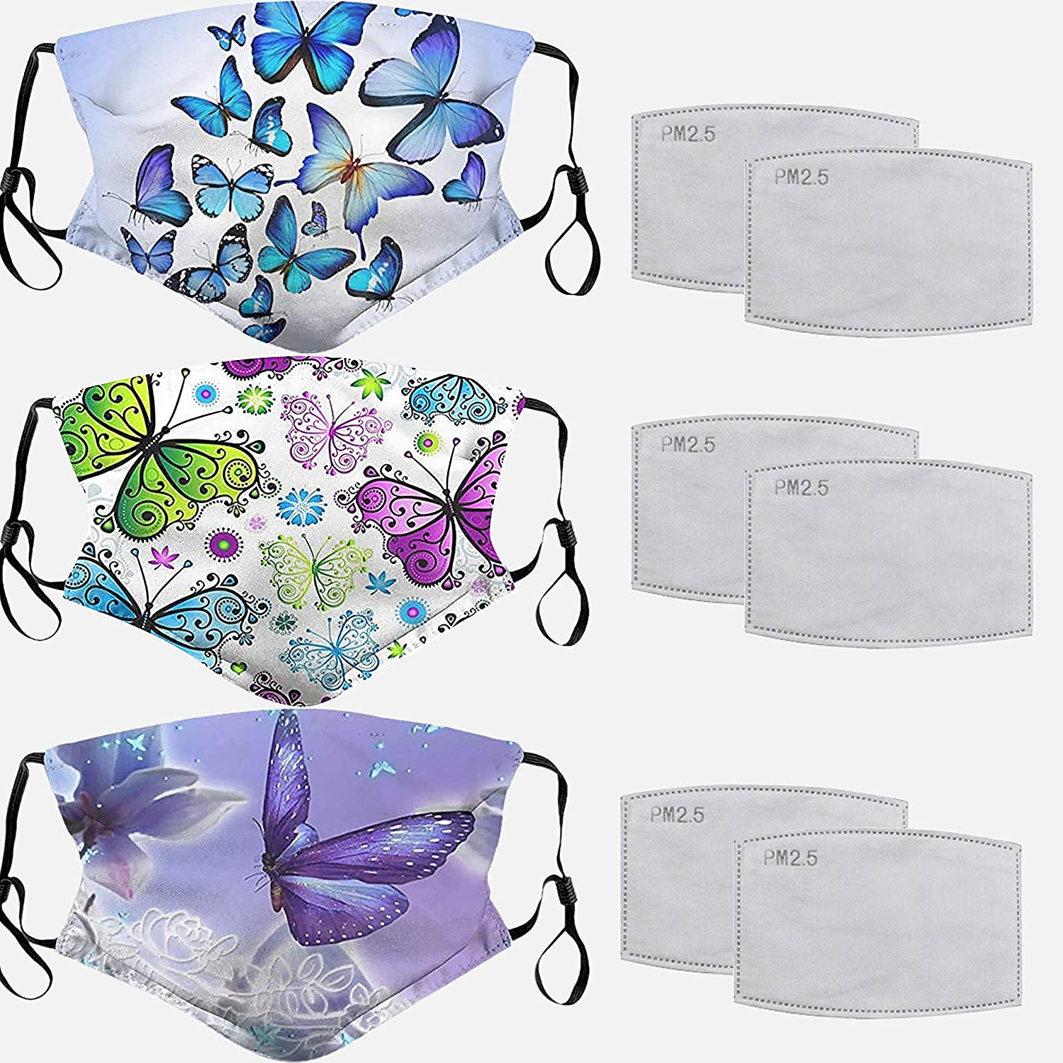 3 Pcs Butterfly Face_Masks with Filter for Adults Reusable Face_Masks Breathable Face Covering for Women Washable Anti-dust Face Mouth Protection with Adjustable Earloops Multi-W