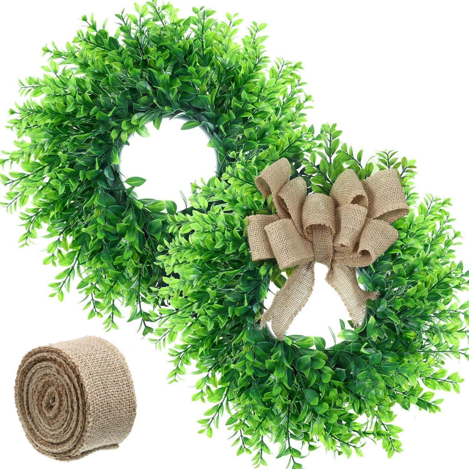 2 Pieces 14 Inch Artificial Boxwood Wreath Green Leaves Wreath Farmhouse Indoor Outdoor Wreath with 16 Feet Burlap Ribbon for Home Front Door Wall Window Wedding Party Festival Celebration Decoration