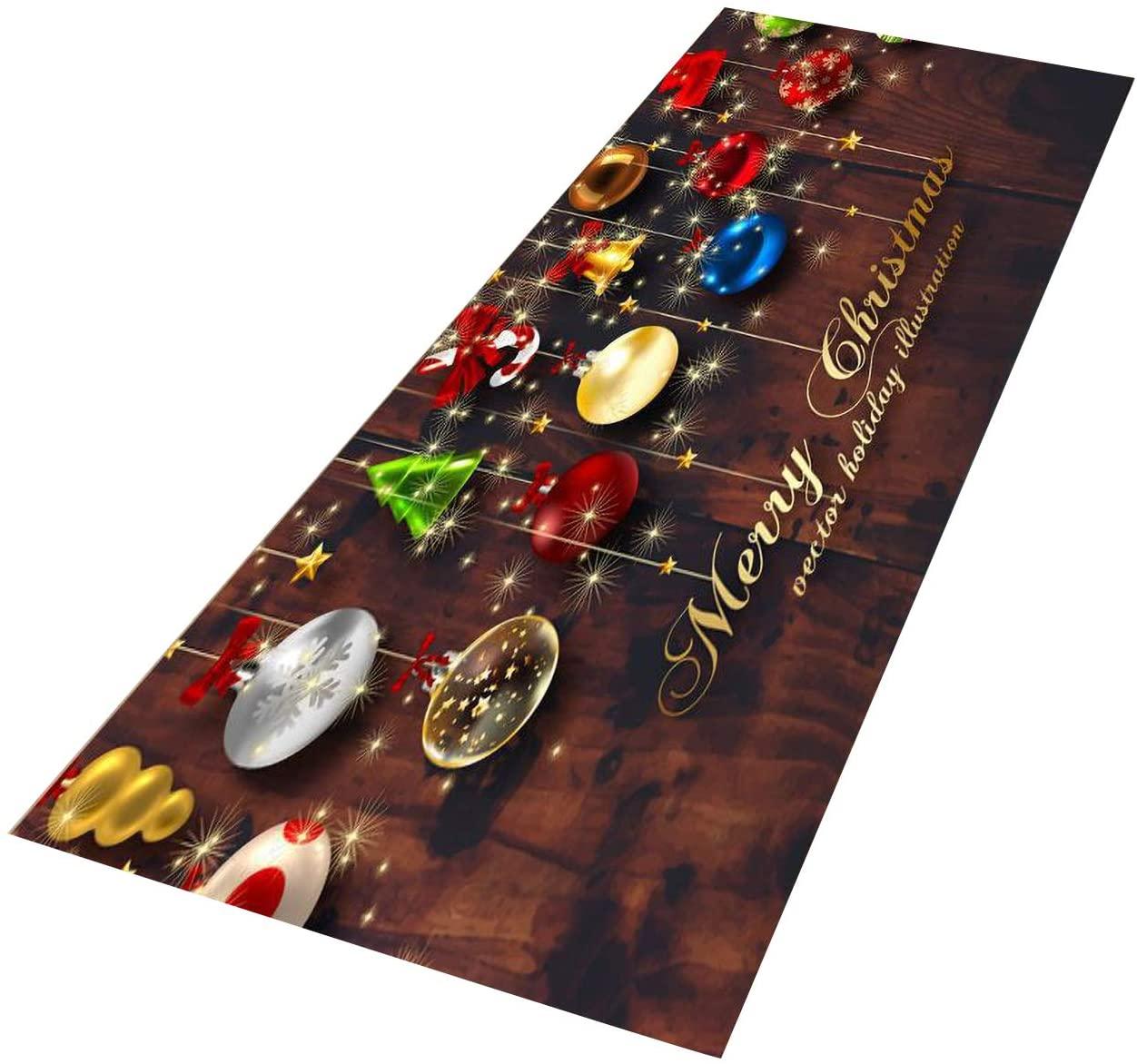 Crafttable 2 Pieces Merry Christmas Kitchen Rug Set, Anti-Fatigue Kitchen Floor Mat, Non Slip Standing Carpet, 15.7x23.6+ 15.7x47.2 in, 32