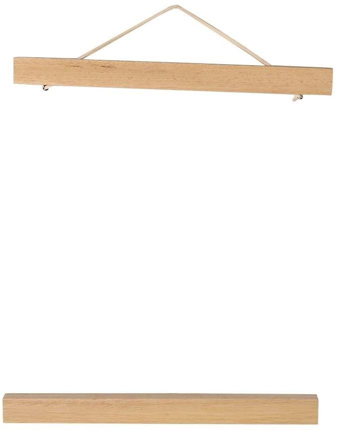 Poster Hanger Modern Magnetic Wooden Photo Frame DIY Poster Scroll Prints Artwork Hanger White Wood(21cm)