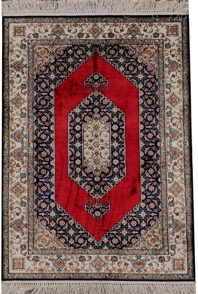 Yilong 300Lines Red Small Persian Rugs Silk Traditional Hand Knotted Area Rugs Mats
