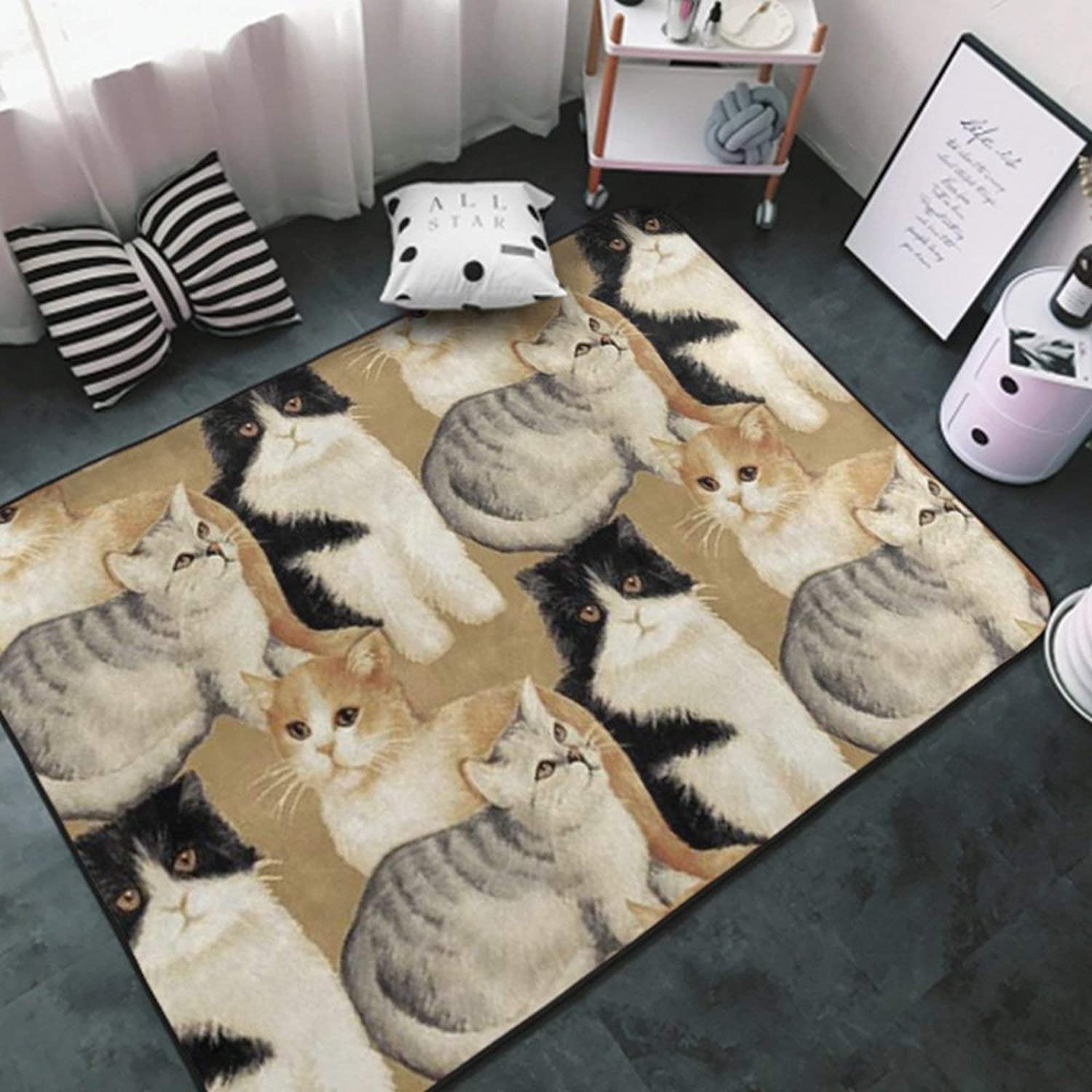 Area Rug Indoor Carpet Non-Slip Stylish Area Carpet for Living Room, Bedroom, Kitchen, Bathroom Cozy Carpets White-Cat Breeds Packed Cats1 Rug