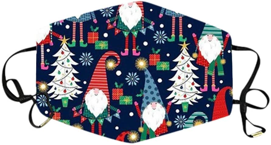 Fuachy Adults Christmas Printed Face_mask Adjustable Reusable Washable Breathable Face Bandanas Daily Use