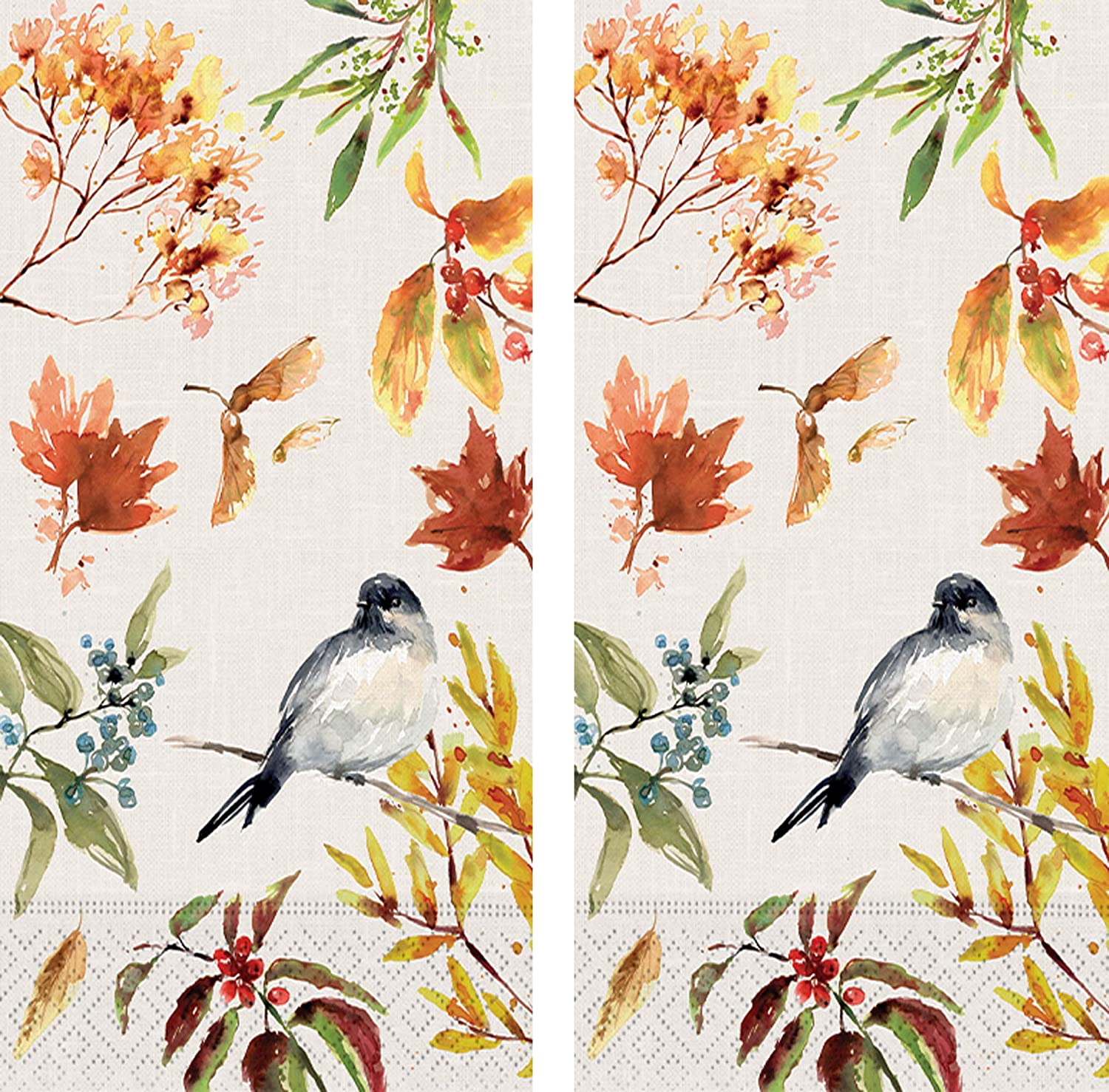Design Design Guest Towels Collection Bundle of 2 Patterns (Autumn Chickadee, 30 Towels)