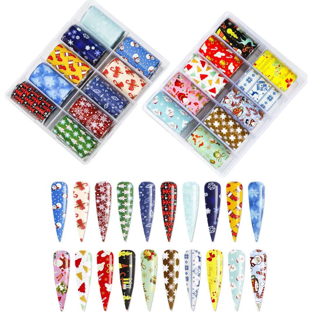 20 Color Fashion Art Nail Foil Transfer Stickers Christmas Holographic Nail Art Stickers Wraps for Women Fingernails and Toenails Decorations