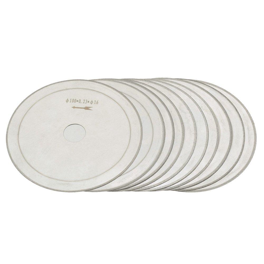 "Super-Thin Diamond Circular Saw Blade Set 0.01in Thickness 10pcs 4"" Stone Gems Jewelry Cutting Disc 5/8"