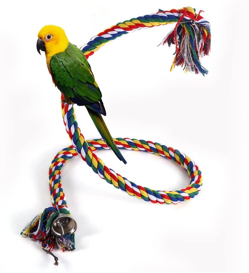 Yosoo Bird Toy Rope Perch and Chew Toy for Bird Parrot Hanging Swing Climbing Chewing Standing, Multicolor
