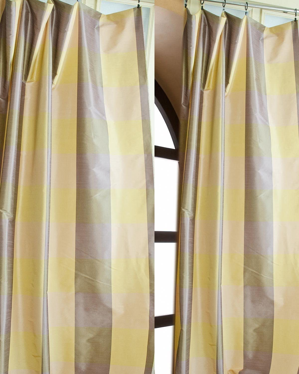 TSC Gold Lilac Big Checkered Faux Silk Lined Pole Pocket 52