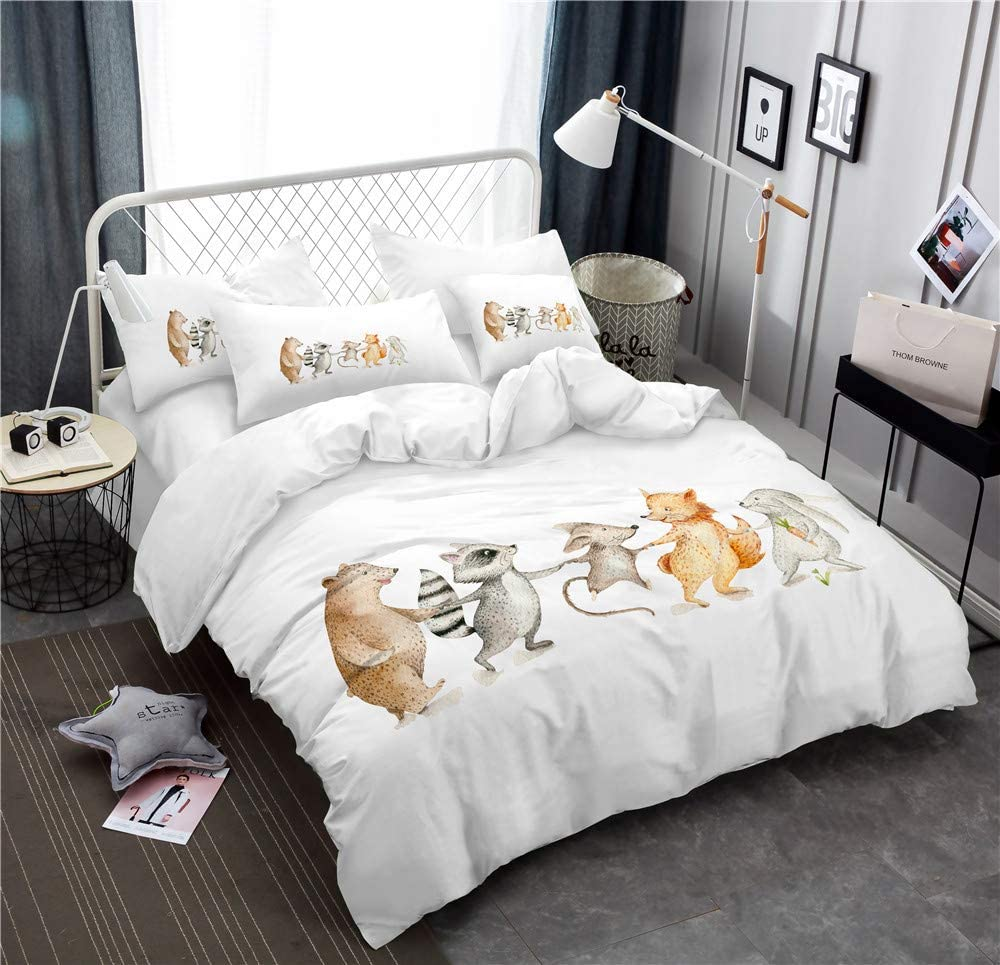 Earendel Cartoon Animal Duvet Cover Set Cute Fox Brown Bear Bedding Multiple Colour Bed Sets 2/3/4PCS Quilt Covers/Sheets/Pillowcases,Twin/Full/Queen/King Size (King-229x259cm-4PCS,1)