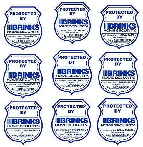 BRINKS 9 Home Security Burglar Warning Stickers - 3.5 x 3.75 Waterproof Indoor/Outdoor Window Decals