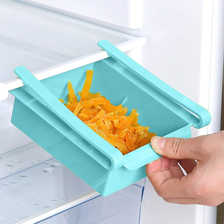 OLOPE Slide Fridge Shelf Drawer,Kitchen Fridge Freezer Space Save Organizer Storage Rack Shelf Holder,Slide Fridge Organizer Kitchen Accessory (Blue)