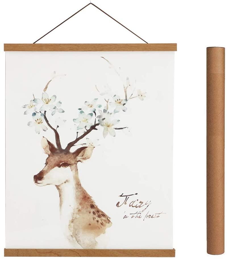 Magnetic Poster Hanger Frame, 32x24 32x40 32x48 Light Wood Wooden Magnet Canvas Artwork Print Dowel Poster Hangers Frames Hanging Kit (Teak Wood, 32)