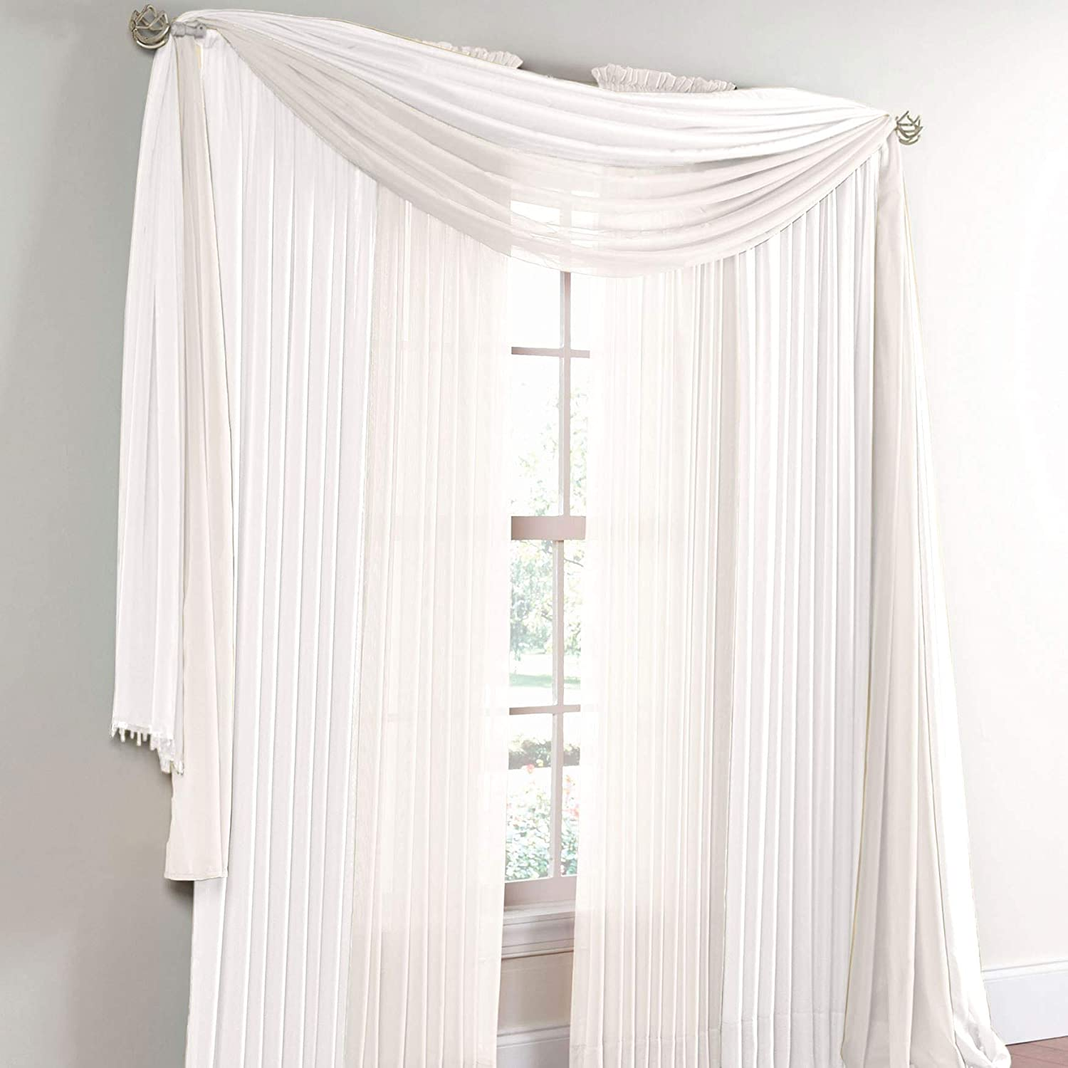 BrylaneHome Sheer Voile Scarf Valance - 40I W 144Il, White