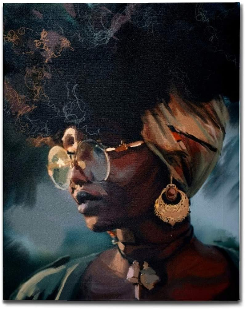 J.COXLOD Canvas Wall Art Painting, African American Pretty Black Girl Fir Wood Inner-Framed Hanging Painting, DecorativeDrawing for Living Room Bedroom Office