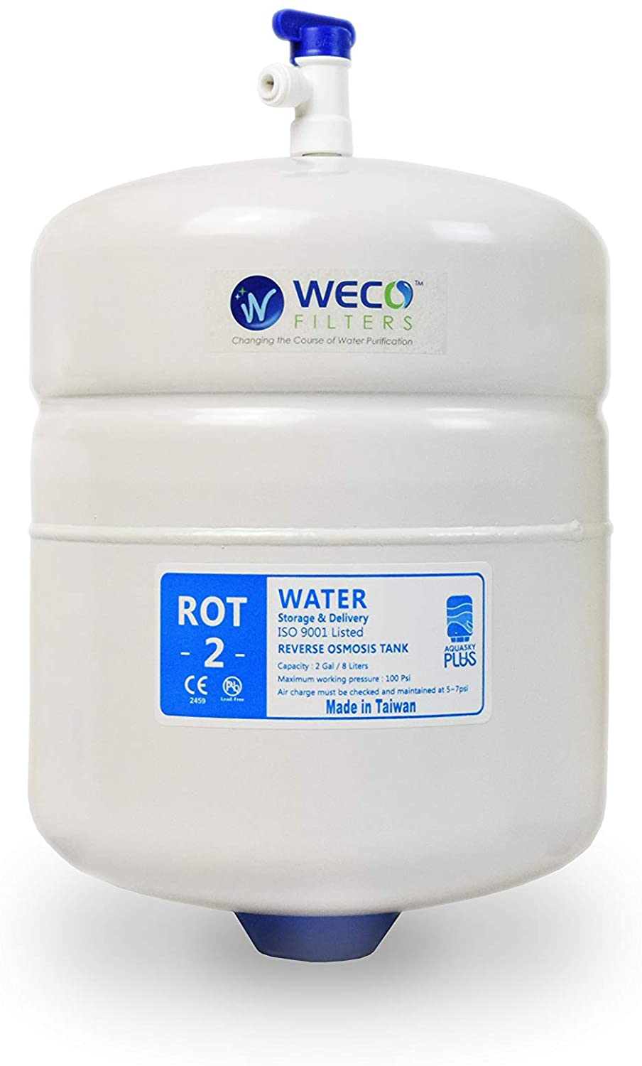 Pressurized RO Water Storage Tank - Total Capacity 2.0 Gal & appx. 1.2 Gal Usable Capacity (ROT-2-W)