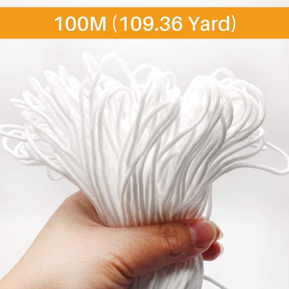 【100M/109.36 Yard】Elastic String for Sewing, Bands Cord Stretch Width Rope for Knit Sewing Crafts DIY Earloop for Crafting,Hanging, Making 1/8 Inch(3MM)