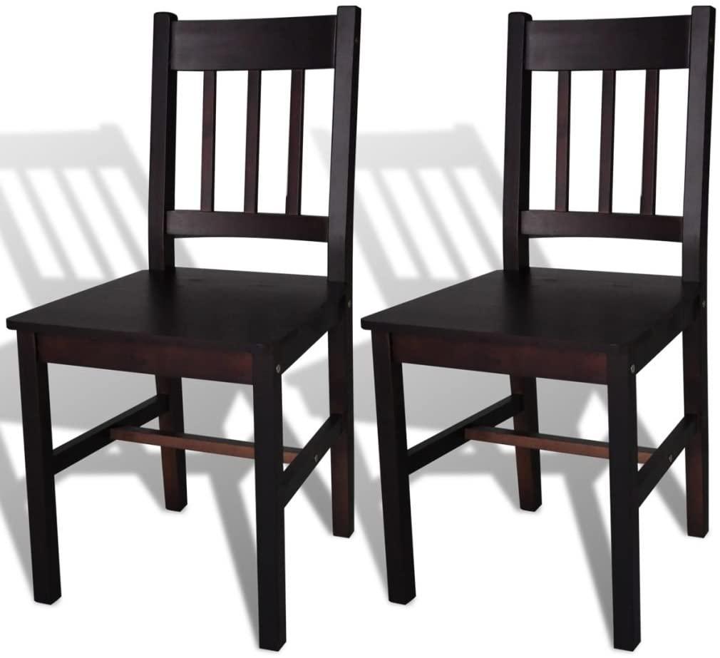 Dining Chairs 2 pcs | Wooden Kitchen Chair Set of 2 | 2 Piece Modern Dining Room Chair for Dining Room, Kitchen, Restaurant | Dark Brown Pinewood | 16.3