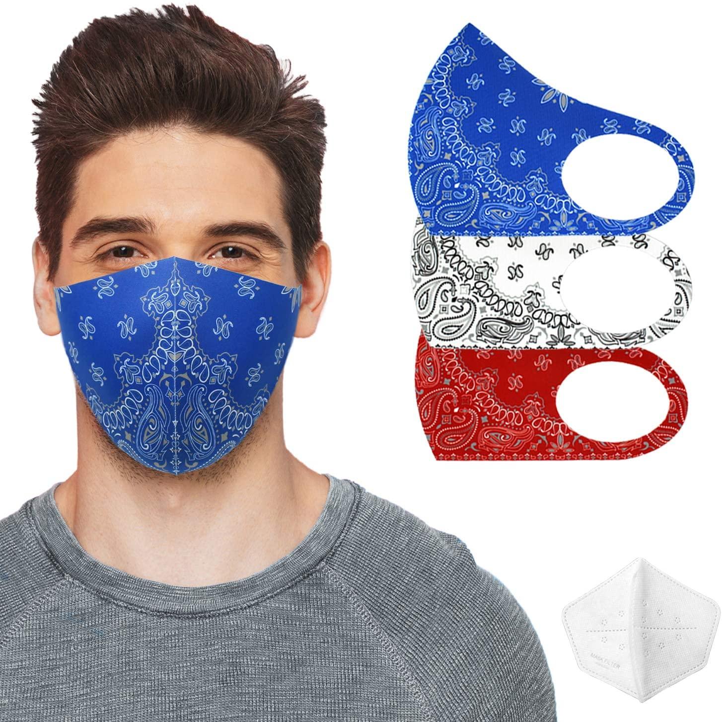Unisex Fashion Paisley Paisley Washable Breathable Reusable Face Mask - Made in Korea (3, BL/WT/RD Paisley & 3 FiIter Set)