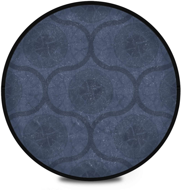 KFBE Morocco Buffalo Check Plaid Round Area Rug Non Slip Doormat Navy Floor Mats Carpet Yoga Mat Rug Runner Non Skid Washable for Playroom Living Room 2081349