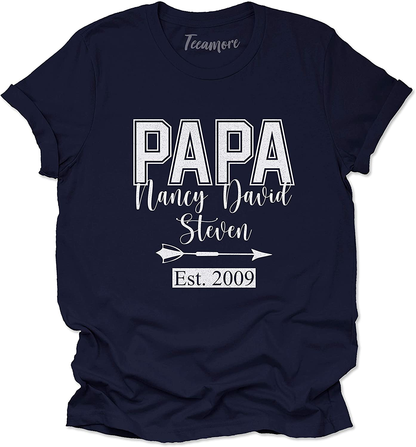 Papa Shirts with Kids Name Personalized Dad Est Date Tees Fathers Day Outfits