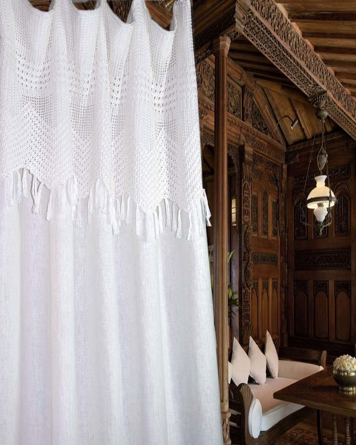 Silk n Drapes and More White Linen with Crocheted Valance Attached Living Room Window Treatment Curtain Panel (52