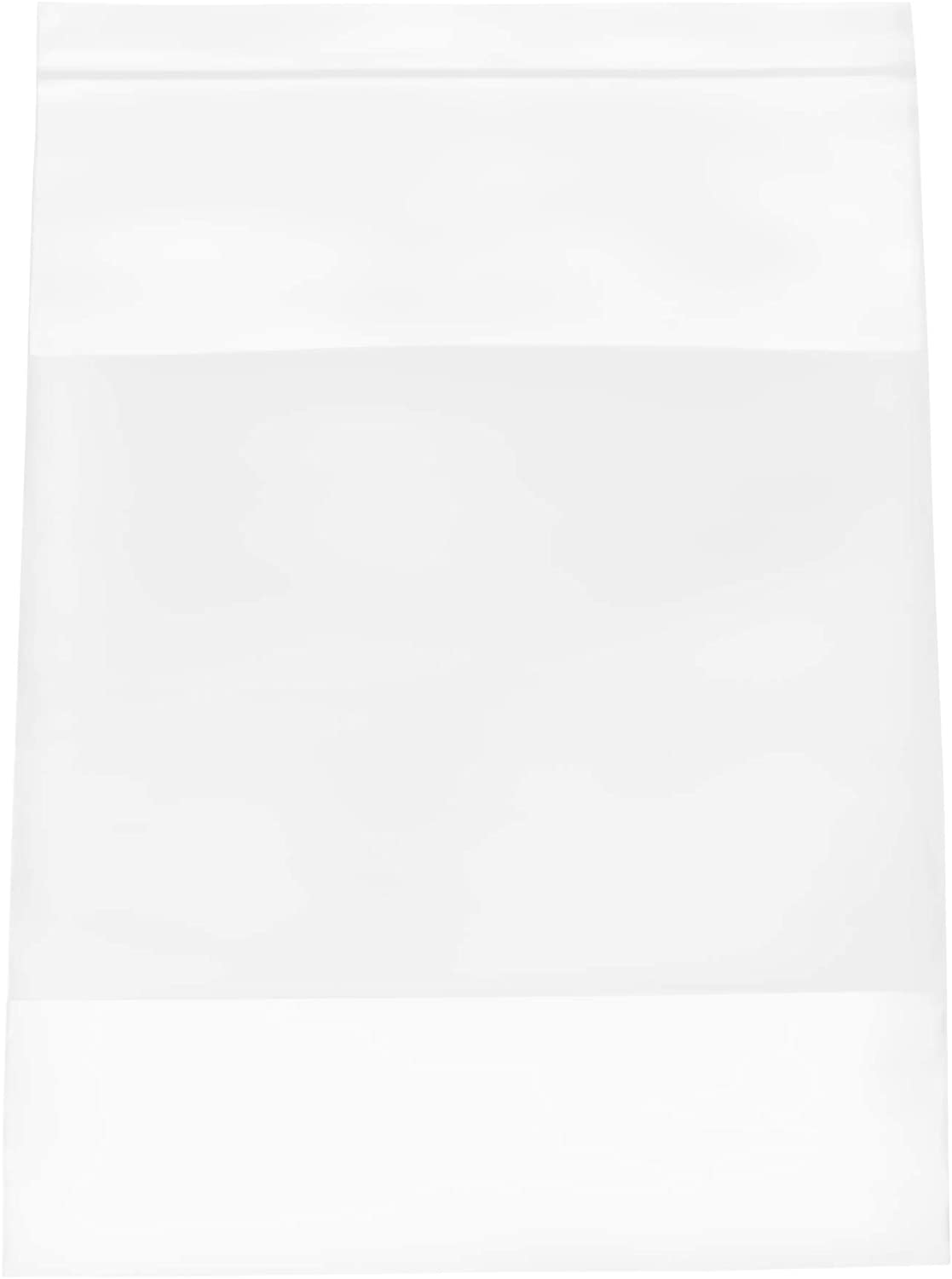 Clear Zipper Bag, Reclosable Write-On Poly Bags, 8x10 Inch, 500 Pack