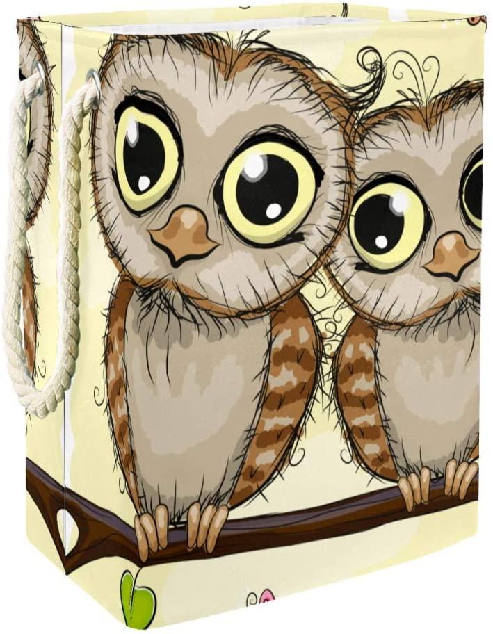 ACHOGI Two Cute Cartoon Owls Laundry Basket with Handles Large Storage Bin Waterproof Fabric Laundry Hamper Laundry Bag for Kids Room Toy Bins Gift Baskets Bedroom Baby Nursery
