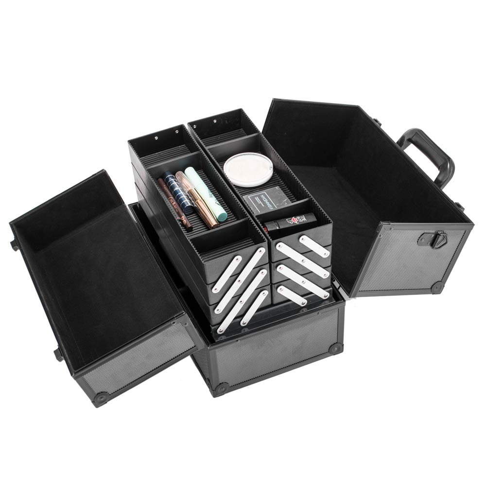 Makeup Case, Makeup Train Case Professional Adjustable - 6 Trays Cosmetic Cases Makeup Storage Organizer Box with Lock and Compartments 14 Inch Large Black