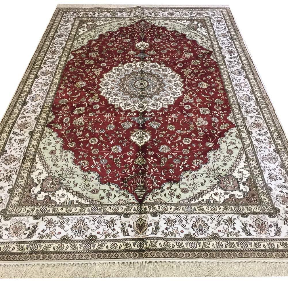 Yilong 6'x9' Red Oriental Persian Area Rug Silk Traditional Handmade Carpet