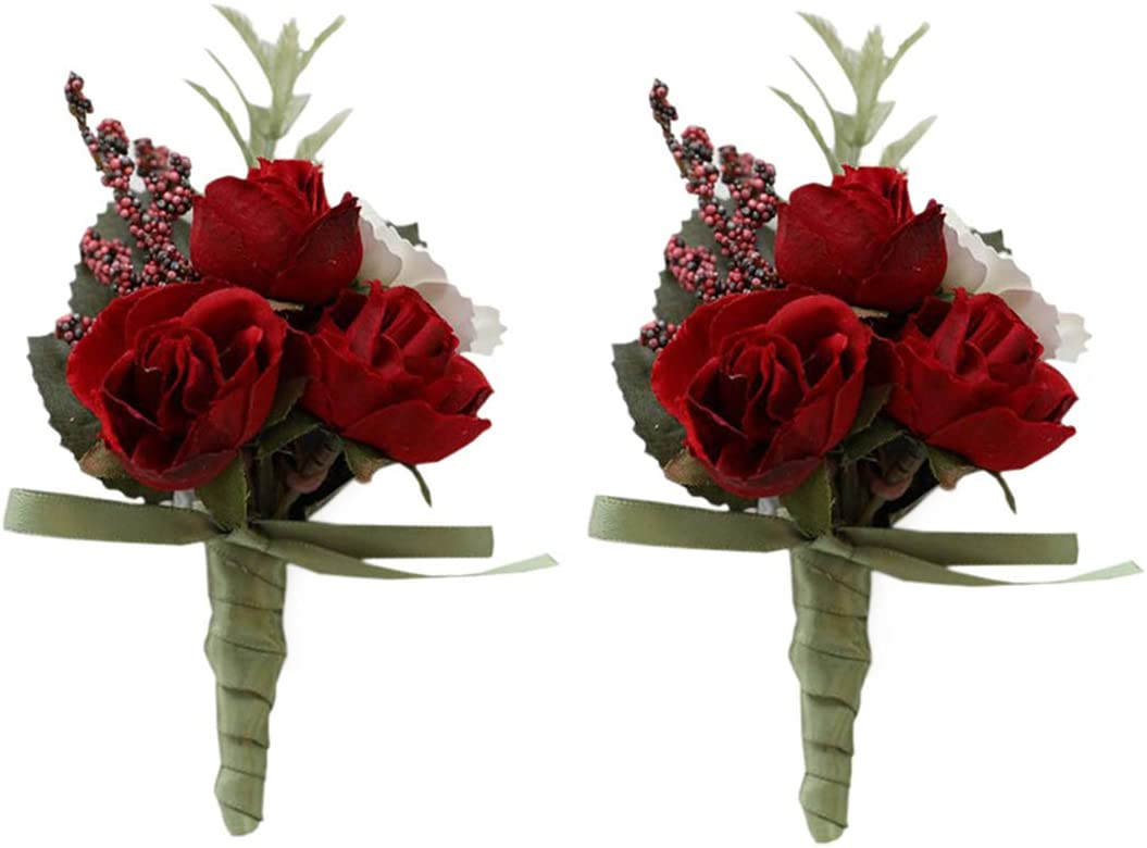 MOJUN Rose Boutonniere Buttonholes Corsage Artificial Groom Rose Wedding Flowers Brooch Prom Party Suit Decoration, Pack of 2, Red