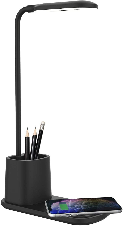 ADURO U-Light Desktop LAMP Organizer & 10W Wireless Charging Stand Black