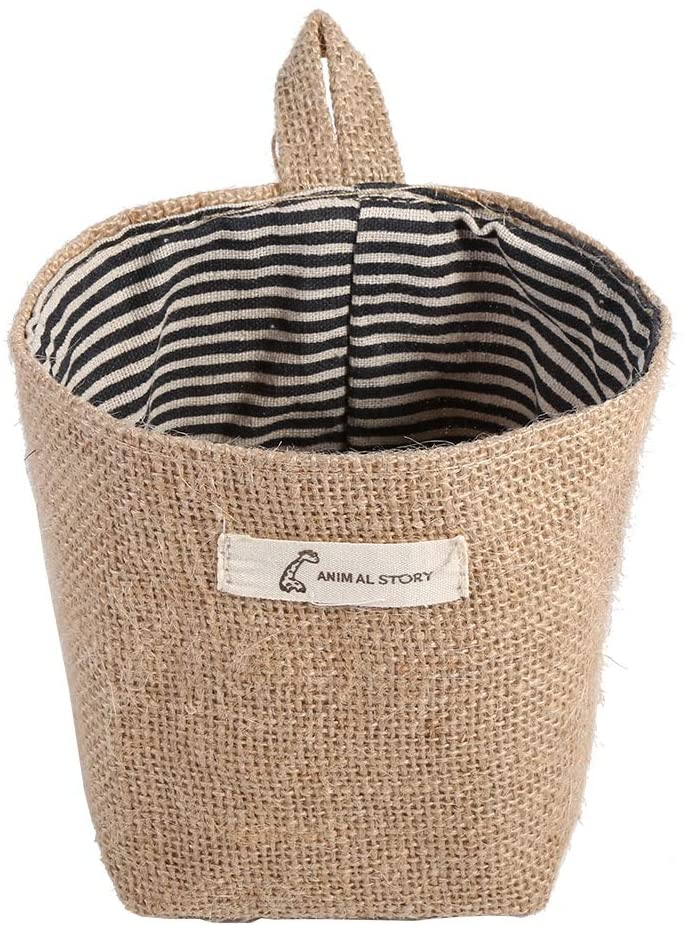 VIFER Cotton Linen Bag Hamper Hanging Clothes Bag Home Gadget Storage Organizer Foldable Basket Bin (Blue)