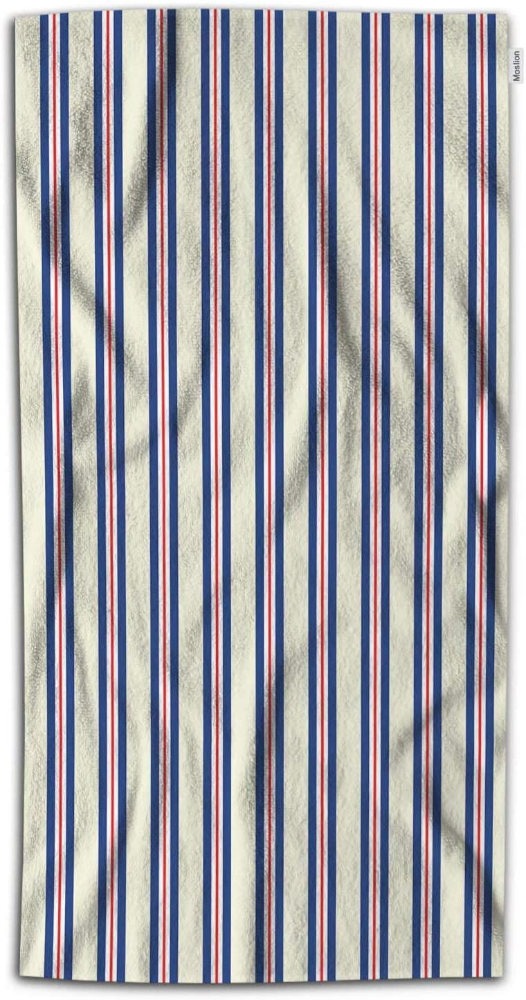 Moslion Striped Bath Towel Navy Blue Stripes Ocean Style Heavy Cord Striola Towel Soft Microfiber Baby Hand Beach Towel for Kids Bathroom 32x64 Inch Blue Red Beige