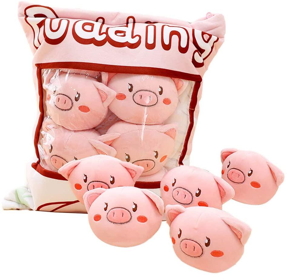 Nisako Cute Throw Pillow Stuffed Animal Toys Fluffy Dolls Creative Gifts for Teens Girls Kids