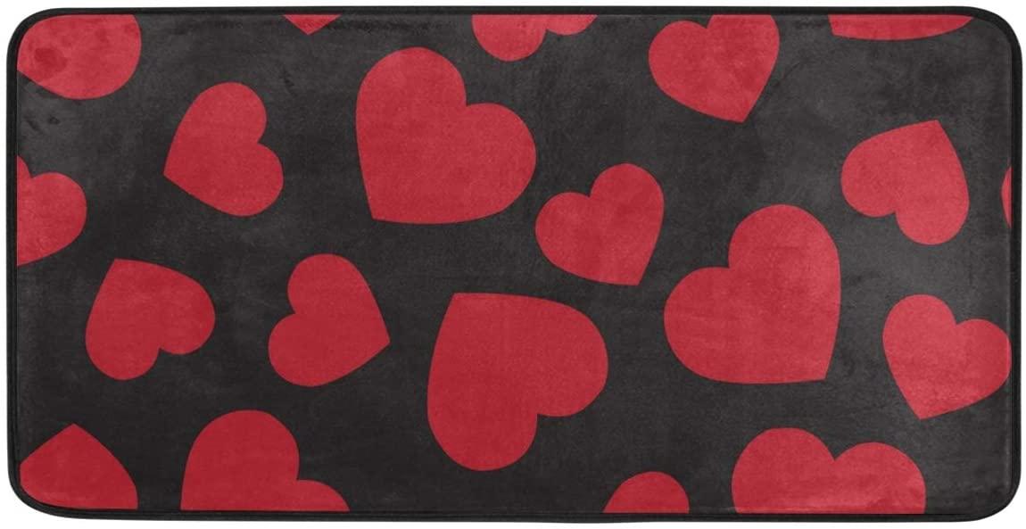 Red Heart in Black Kitchen Mat Rugs Cushioned Chef Soft Non-Slip Floor Mats Washable Doormat Bathroom Runner Area Rug Carpet,39