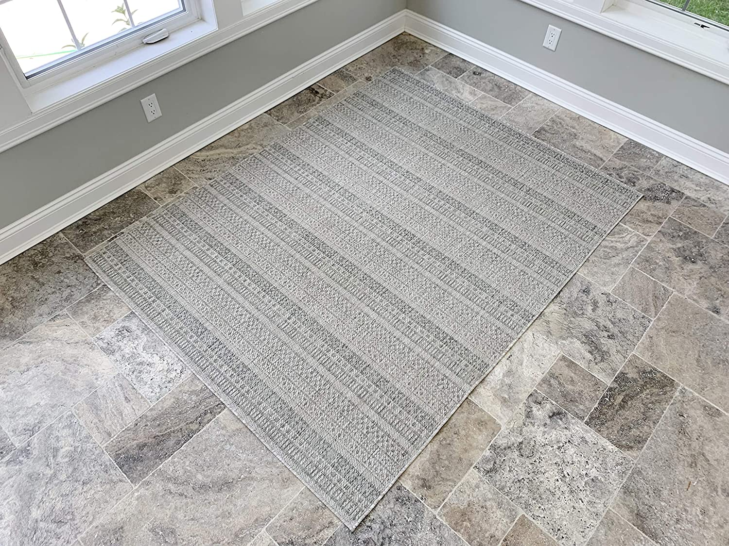 Benissimo Indoor Outdoor Rug Stripes Collection Non-Skid, Natural Sisal Woven and Jute Backing Area Carpet for Living Room, Bedroom, Kitchen, Entryway, Hallway, Patio, Farmhouse Decor, 4x6, Beige