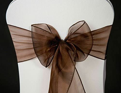 100 Coffee Organza Chair Sashes Bow Wedding and Events Supplies Party Decoration