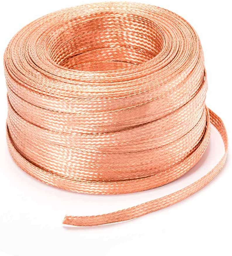 XMRISE Flat Braided Copper Wire Drain Cable Electric Stranded Bare Flexible Spiral Grounding Lead Conductive Conductors 10#