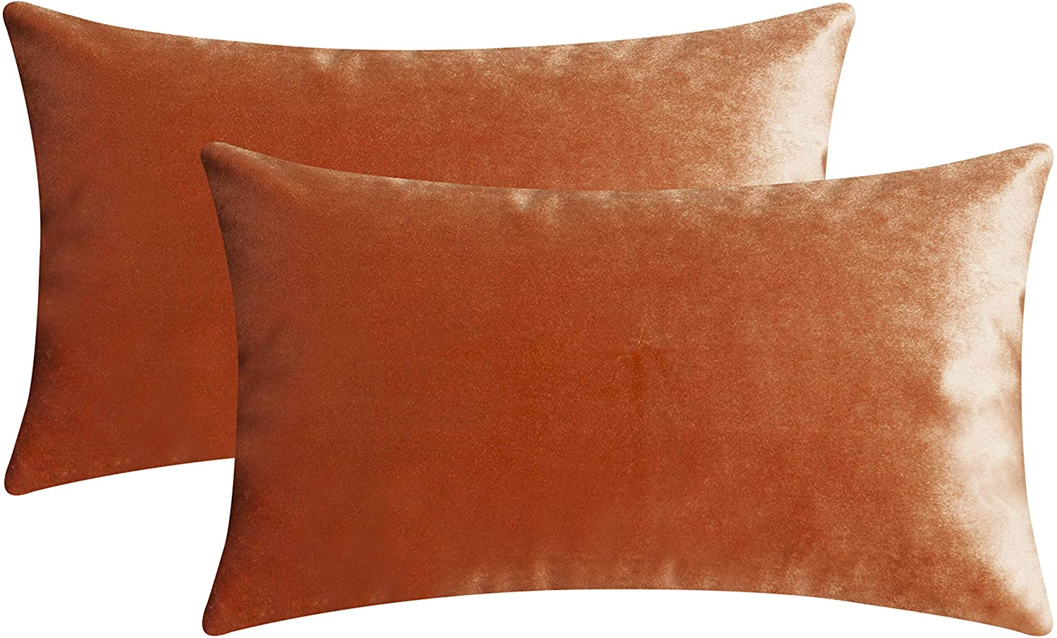Home Brilliant Velvet Oblong Cushion Cover Pillowcases Throw Pillow Covers for Office Lounge Nursery, Set of 2, 12 x 20 Inches(30x50cm), Copper