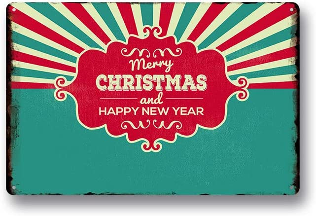 Modern Vintage Metal Tin Signs Merry Christmas and Happy New Year ! Wall Plaque Poster Cafe Bar Pub Beer Club Wall Home Decor 8x12 inches