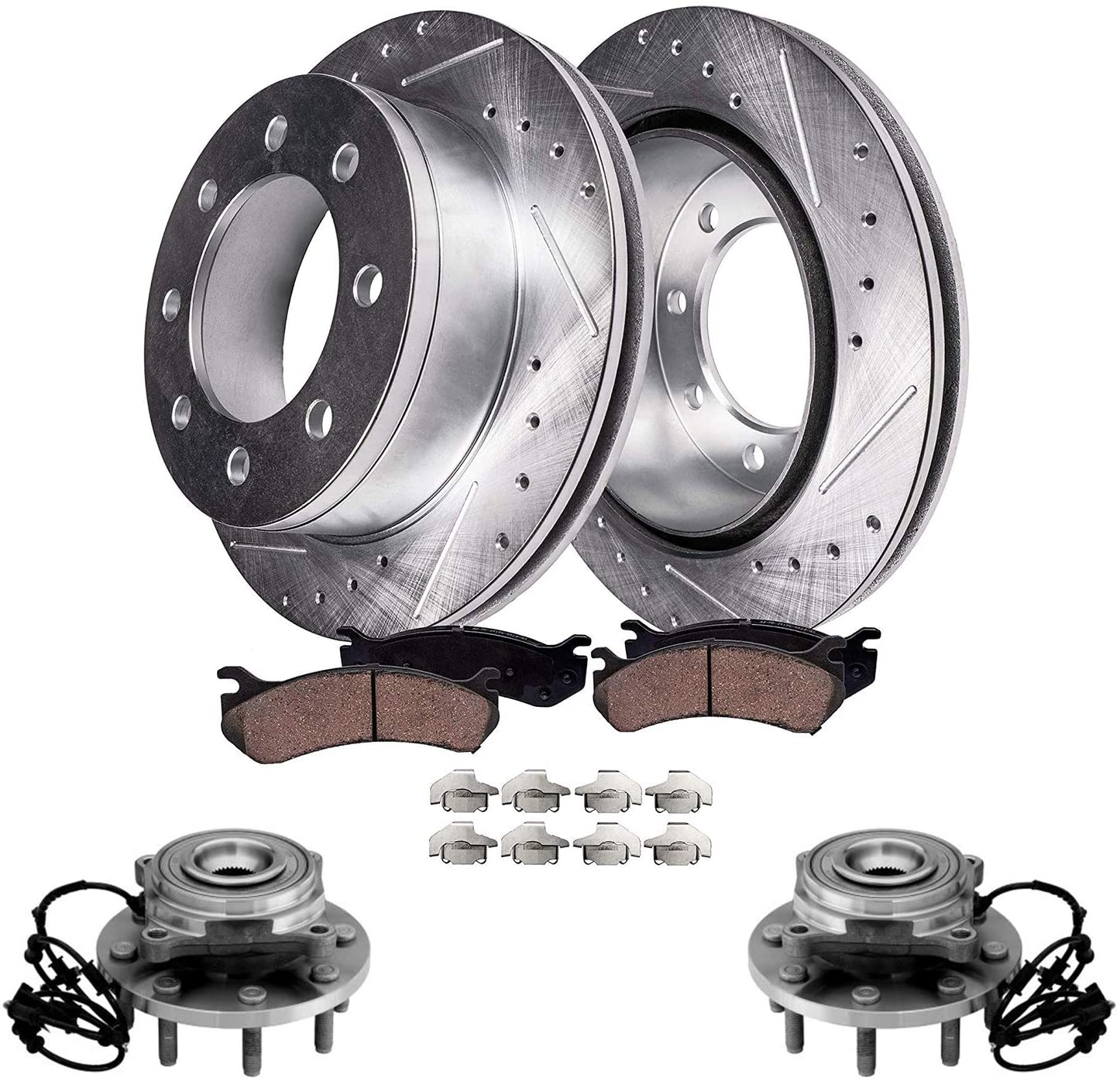 Detroit Axle Replacement for 2012 2013 Ram 2500 3500 [4wd] Front Drilled Brake Rotors w/Ceramic Pads + Wheel Hub & Bearing Assembly - 6pc