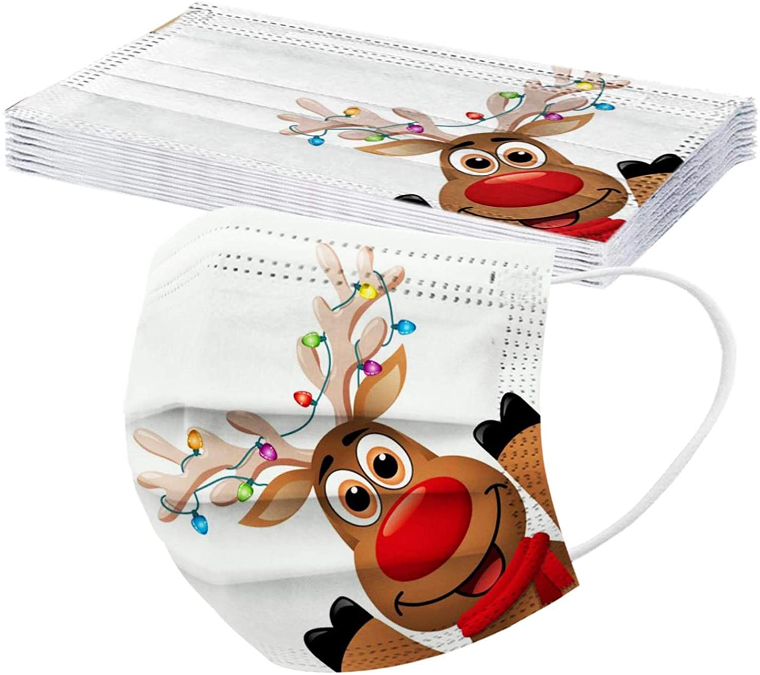 10Pcs Unisex Adults Reindeer Theme Printed Disposable_Face_Mäsks, 3-ply Face Mouth Surgical Hygiene Protection Shield,with Elastic Earloops and Nose Clip, No Smell Non-Wowen Safety Protection