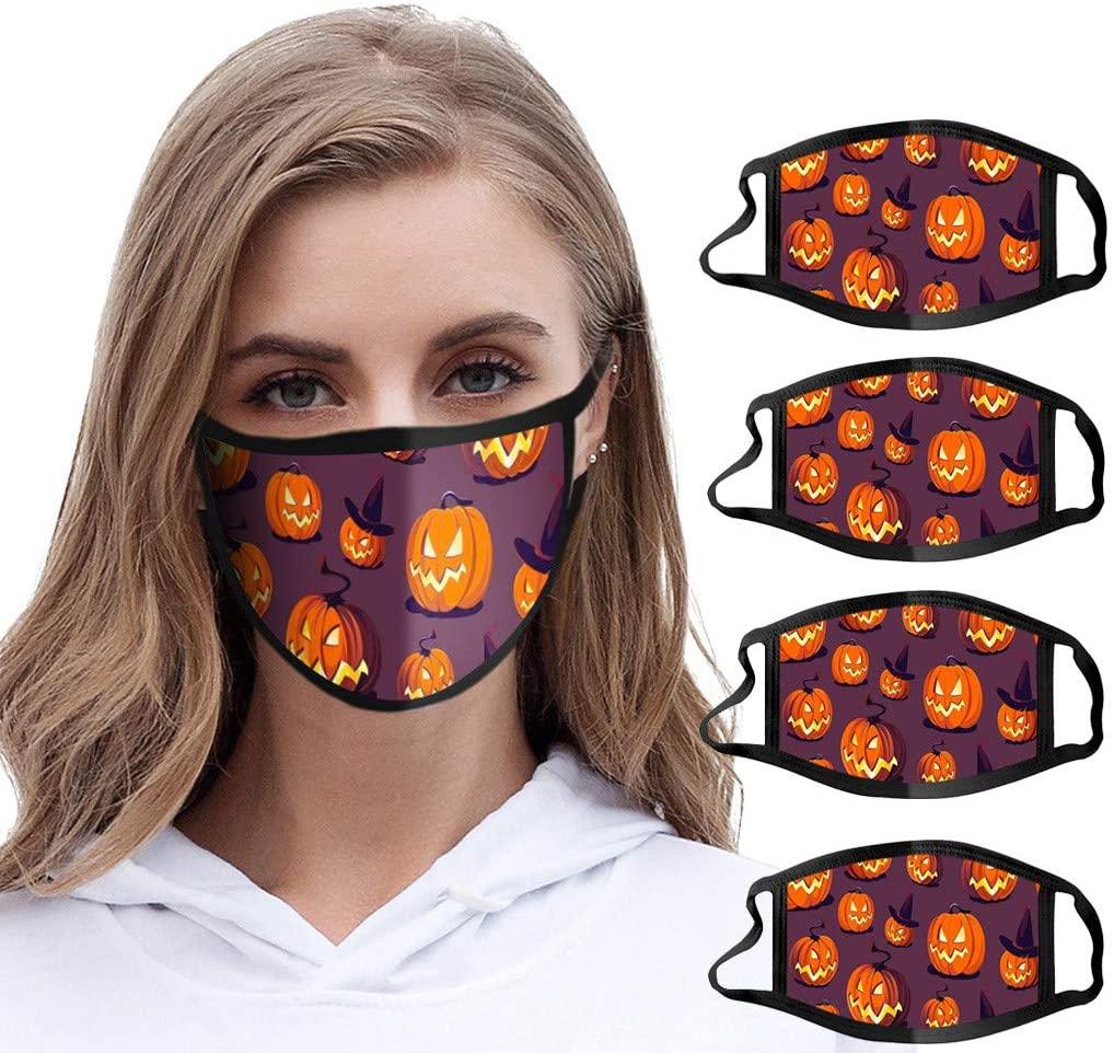5 Pack Adult Halloween Pumpkin Printed Reusable Facial Protection Dustproof Washable Face Bandanas Breathable Halloween Decorations