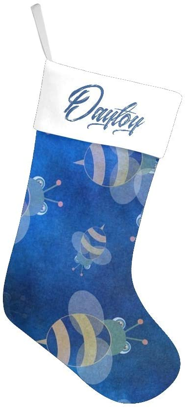 XIUCOO Custom Christmas Stockings with Name Personalized Xmas Festive Gift Decor 17.52 x 7.87 Inch Cute Little Bee