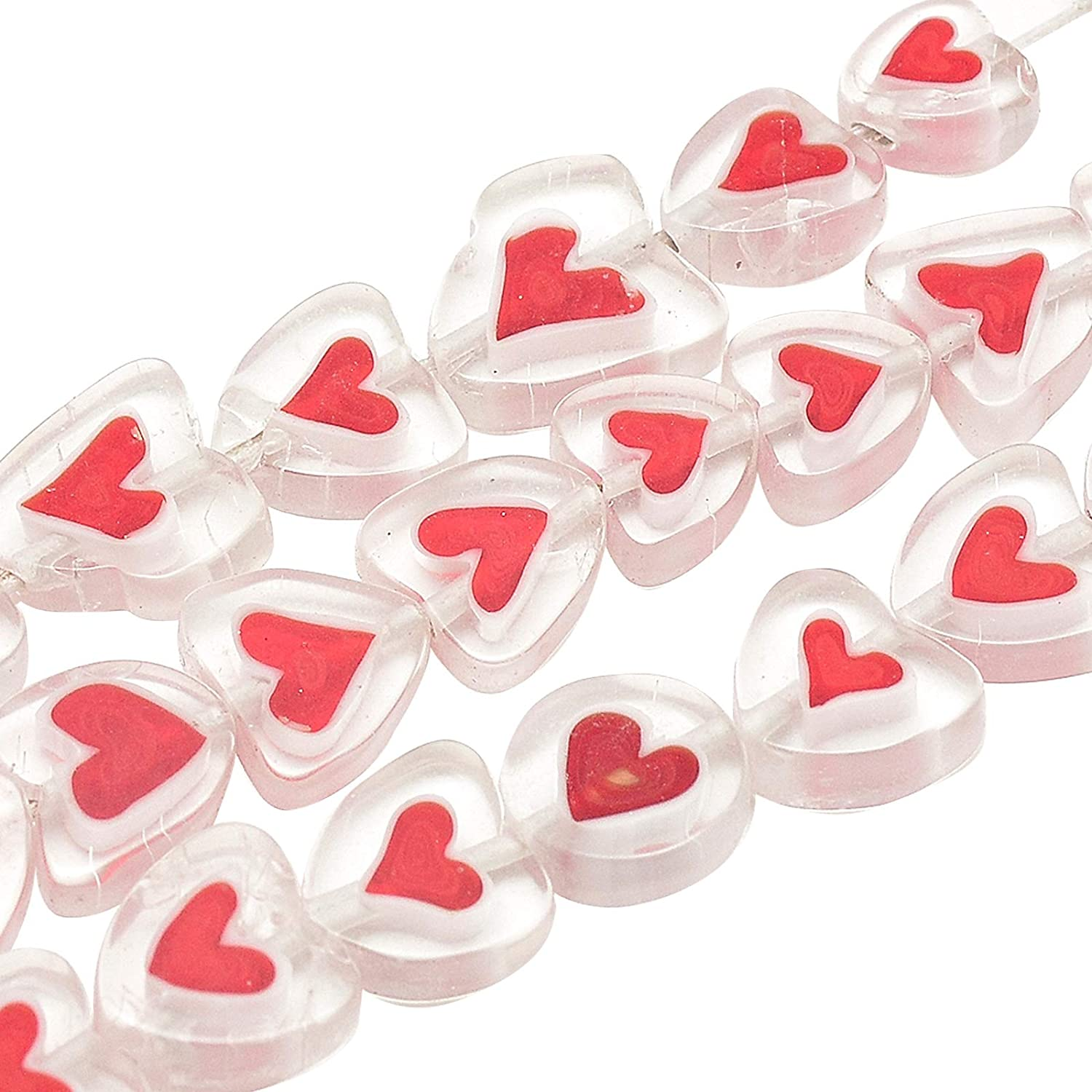 arricraft 36 Pcs Heart Beads, Handmade Lampwork Beads Spacer, Glass Beads for Jewelry Making, Red