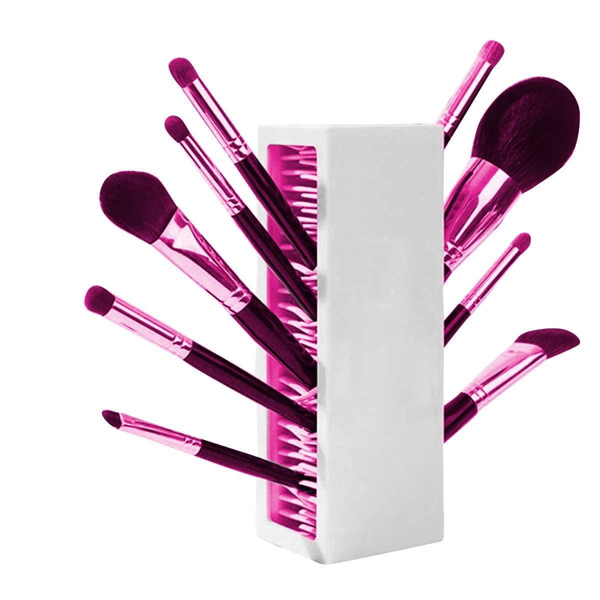DaMohony Makeup Brush Holder, Countertop Silicone Cosmetics Brushes Drying Rack Air Storage Organizer